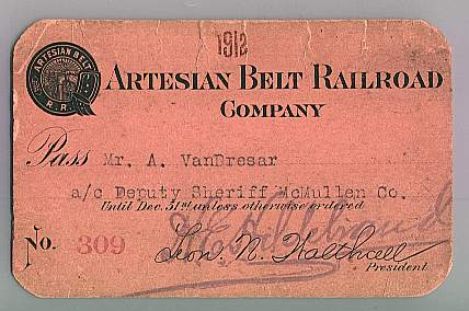 A 1912 Artesian Belt Railroad Pass